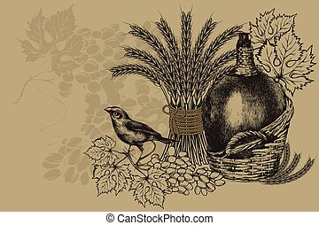 Bottle of wine in a basket and wheat, sitting bird with grapes. Vintage background, vector illustration.