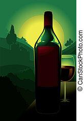 Bottle of wine in countryside