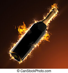 Bottle of wine in fire