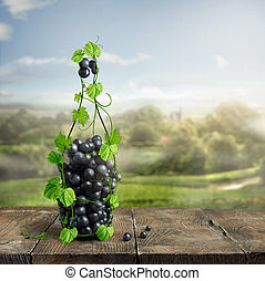bottle of wine made from grapevine