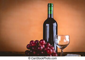 Bottle of wine, Mediterranean concept, ambient light
