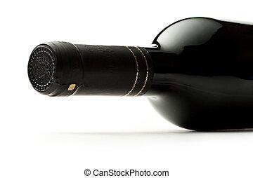 Bottle of wine on white