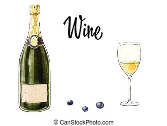 Bottle of wine with a glass isolated on white background. Vector illustration.