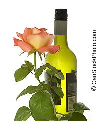 bottle of wine with a rose stem