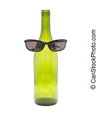 bottle of wine with dark glasses
