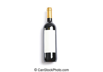 Bottle of wine with empty space isolated on white background