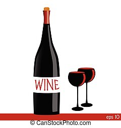 bottle of wine with two glasses illustration