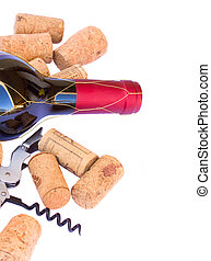 bottle ofred wine wth corks - bottle with red wine with...