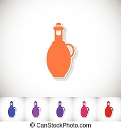 Bottle olive oil. Flat sticker with shadow on white background