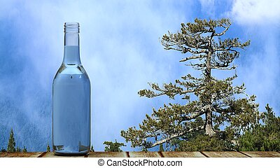 bottle on the high mountain
