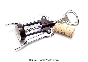 Bottle opener corkscrew over white background