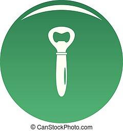 Bottle opener icon vector green