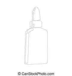 Bottle paper glue icon in outline style isolated on white background.