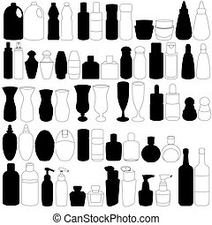A Silhouette vector set of bottle, perfume, glass, containers