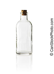 Bottle - Old fashioned glass bottle with cork stopper.