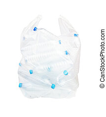 Bottle plastic recycle in plastic clear bag.