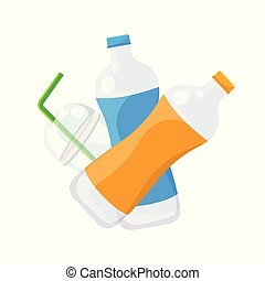 bottle plastic waste dump isolated on white background, plastic bottle garbage waste and straws in plastic cup garbage, illustration garbage waste for pollution