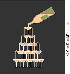 Bottle pour Glass of champagne tower. Alcohol in glass belfry. Wine pyramid. Cocktail hill