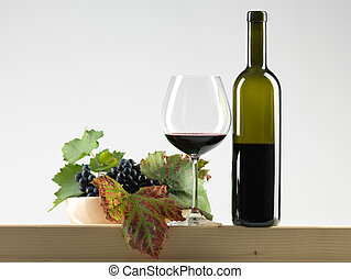 bottle red wine, glass, grapes white background