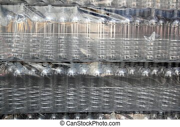 bottle rows stacked wrapped in plastic