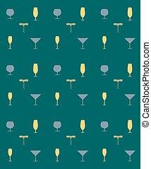 Bottle screw and wine glass seamless pattern