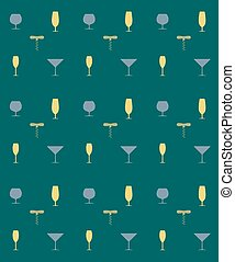 Bottle screw and wine glass seamless pattern