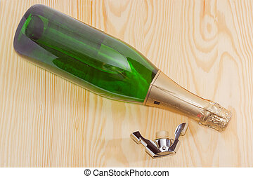 Bottle sparkling wine and special stopper for wine storage...