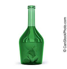 bottle., sucht, begriff, alkohol, mann