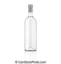 bottle., transparent, vin