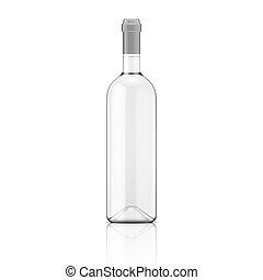 bottle., transparente, vinho