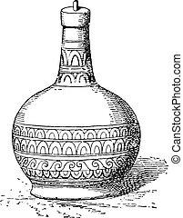 Bottle, vintage engraving.