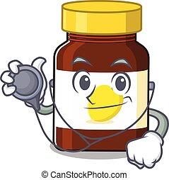 Bottle Vitamin C 1 - Smiley doctor cartoon character of ...
