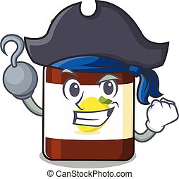 bottle vitamin c cartoon design in a Pirate character with one hook hand. Vector illustration