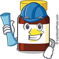 caricature picture of bottle vitamin c Architect with blue prints. Vector illustration