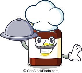 mascot design of bottle vitamin c chef serving food on tray. Vector illustration