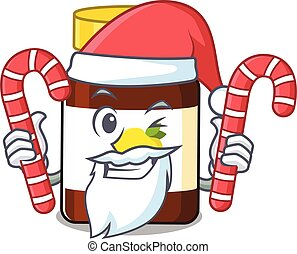 Friendly bottle vitamin c dressed in Santa Cartoon character with Christmas candies. Vector illustration