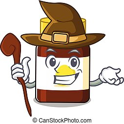 bottle vitamin c funny but sneaky witch cartoon character design. Vector illustration