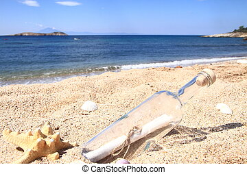 Bottle washed up on the beach, with a message inside