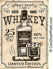 Bottle whiskey with glass, cigar vintage poster