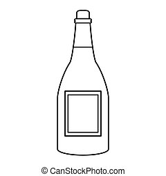 bottle wine alcohol drink thin line