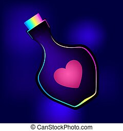 Bottle with a heart on a blue background. Magic elixir of love or poison