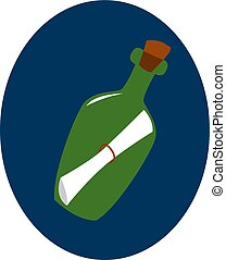 Bottle with a note, illustration, vector on white background.