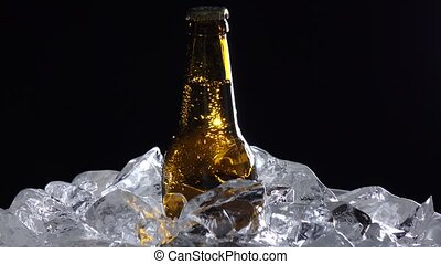 Cold beer, in slices of ice are bottle with a tempo drink, they are for oktoberfest. Black background. Close up