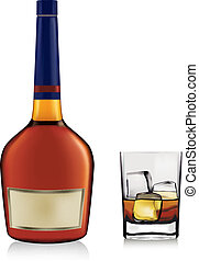 Bottle with brandy and glass with ice isolated on white. ...