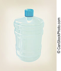 Bottle with clean blue water . 3D illustration. Vintage style.