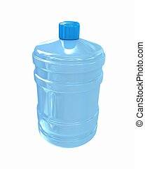 Bottle with clean blue water