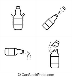 Bottle With Cola Icon line style