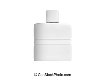 Bottle with cosmetic means for a white background