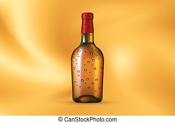 Bottle with dew on gold background