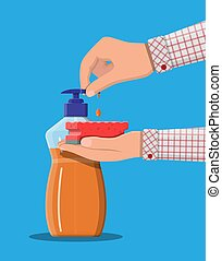 Bottle with dispenser and sponge in hands. Washing sponge....